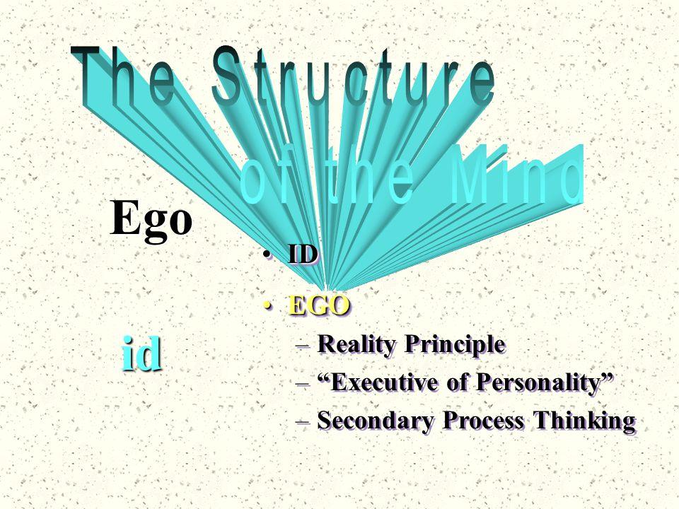 "id Ego IDID EGOEGO –Reality Principle –""Executive of Personality"" –Secondary Process Thinking EGOEGO –Reality Principle –""Executive of Personality"" –S"