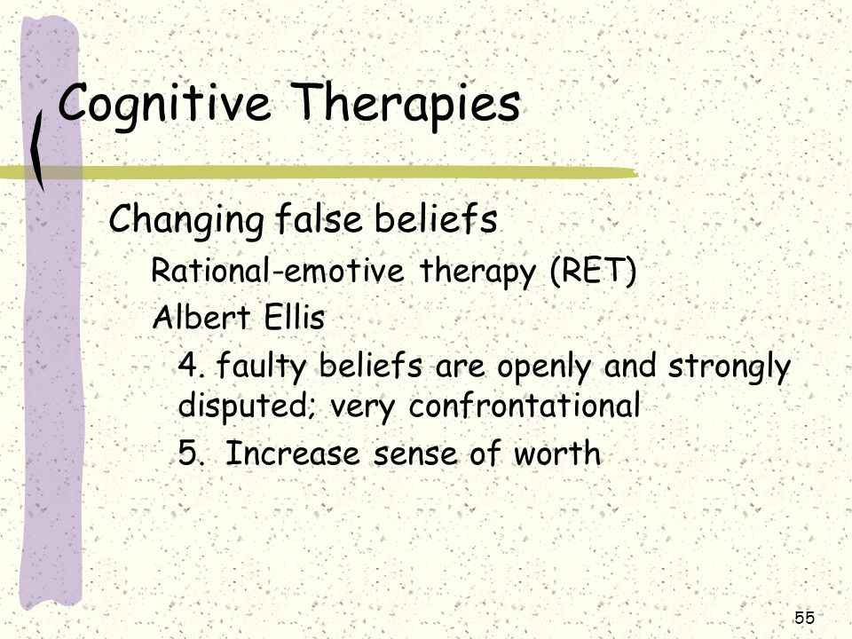 55 Cognitive Therapies Changing false beliefs Rational-emotive therapy (RET) Albert Ellis 4. faulty beliefs are openly and strongly disputed; very con