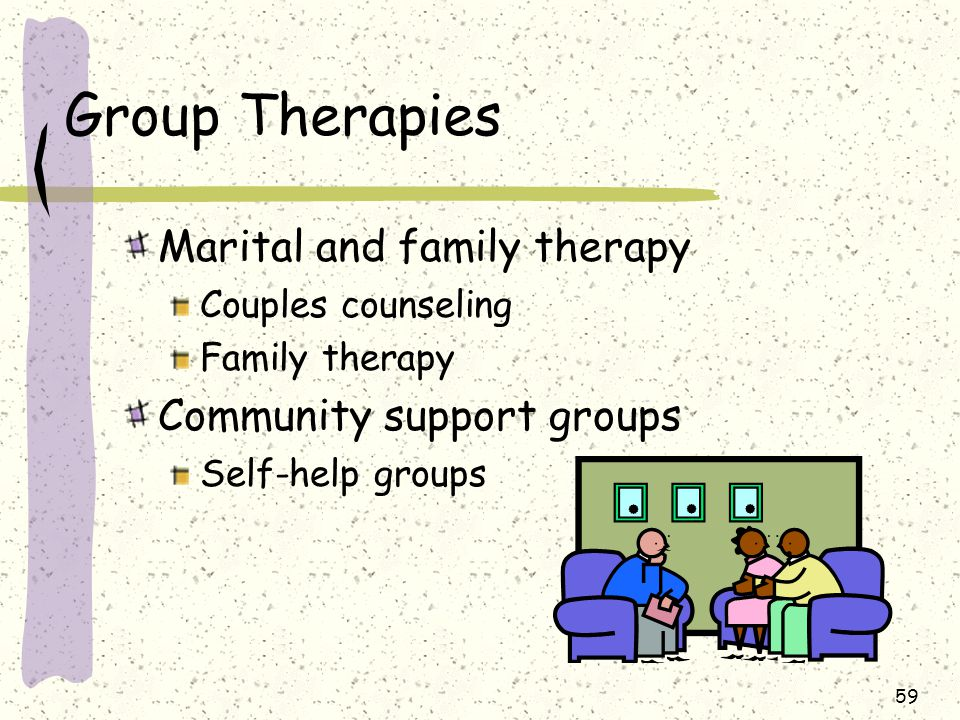 59 Group Therapies Marital and family therapy Couples counseling Family therapy Community support groups Self-help groups