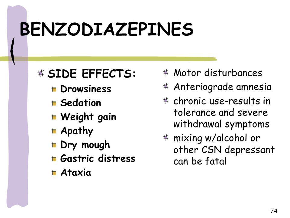 74 BENZODIAZEPINES SIDE EFFECTS: Drowsiness Sedation Weight gain Apathy Dry mough Gastric distress Ataxia Motor disturbances Anteriograde amnesia chro