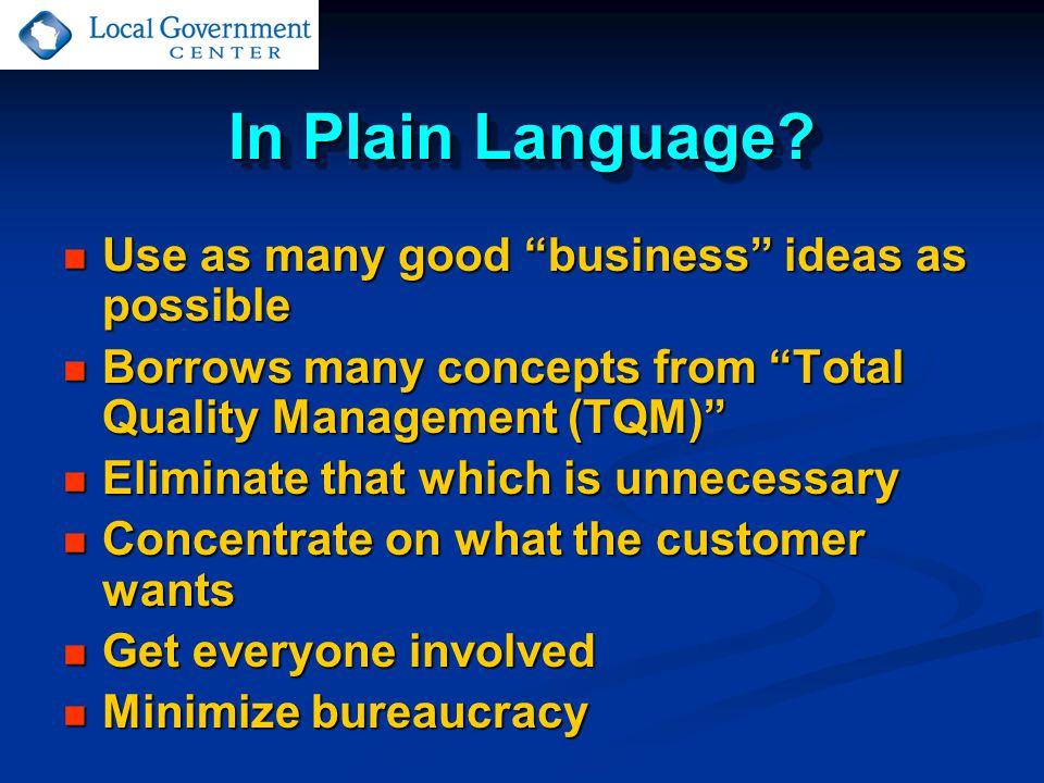 In Plain Language.
