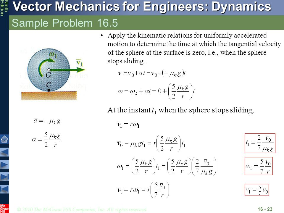 © 2010 The McGraw-Hill Companies, Inc. All rights reserved. Vector Mechanics for Engineers: Dynamics NinthEdition Sample Problem 16.5 16 - 23 Apply th