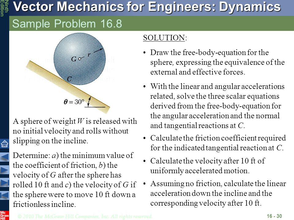 © 2010 The McGraw-Hill Companies, Inc. All rights reserved. Vector Mechanics for Engineers: Dynamics NinthEdition Sample Problem 16.8 16 - 30 A sphere
