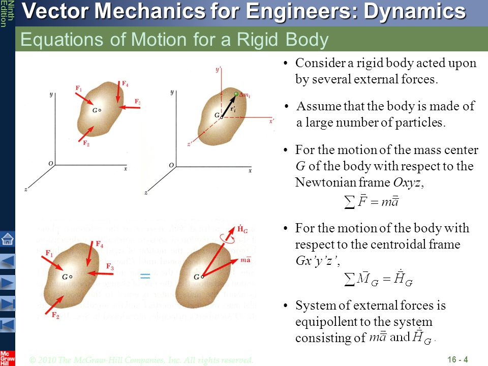 © 2010 The McGraw-Hill Companies, Inc. All rights reserved. Vector Mechanics for Engineers: Dynamics NinthEdition Equations of Motion for a Rigid Body