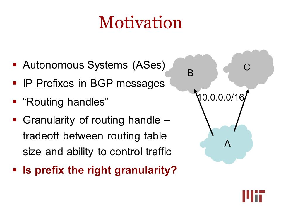 Motivation A C B 10.0.0.0/16  Autonomous Systems (ASes)  IP Prefixes in BGP messages  Routing handles  Granularity of routing handle – tradeoff between routing table size and ability to control traffic  Is prefix the right granularity