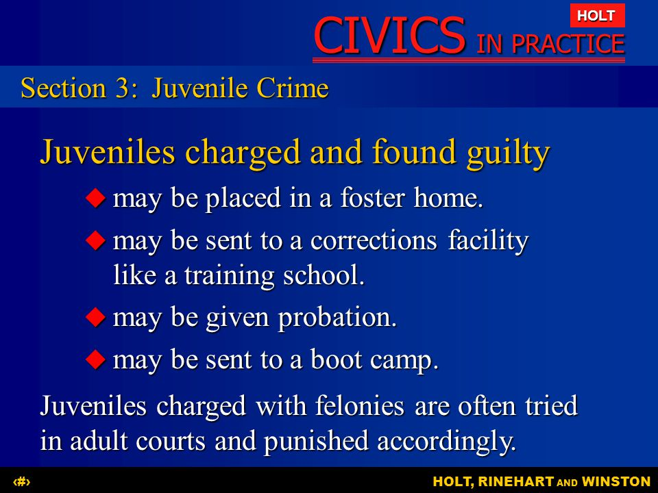 CIVICS IN PRACTICE HOLT HOLT, RINEHART AND WINSTON24 Juveniles charged and found guilty  may be placed in a foster home.