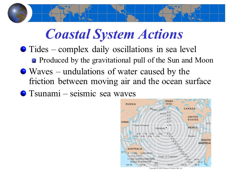 Coastal System Actions Tides – complex daily oscillations in sea level Produced by the gravitational pull of the Sun and Moon Waves – undulations of water caused by the friction between moving air and the ocean surface Tsunami – seismic sea waves