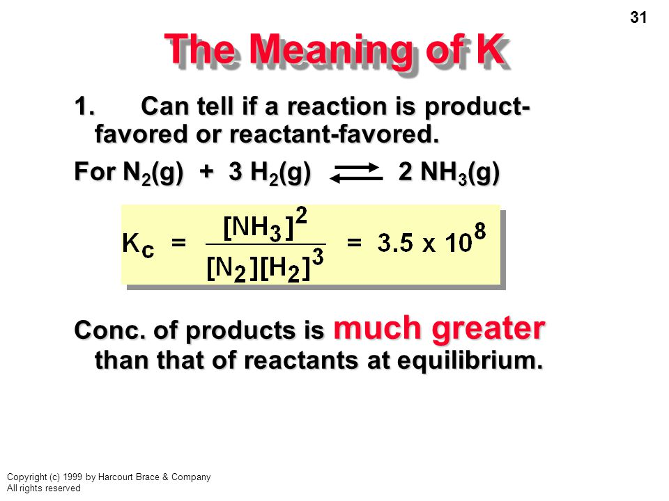 31 Copyright (c) 1999 by Harcourt Brace & Company All rights reserved The Meaning of K 1.Can tell if a reaction is product- favored or reactant-favored.