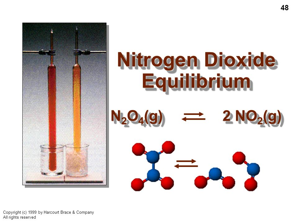 48 Copyright (c) 1999 by Harcourt Brace & Company All rights reserved Nitrogen Dioxide Equilibrium N 2 O 4 (g) 2 NO 2 (g)