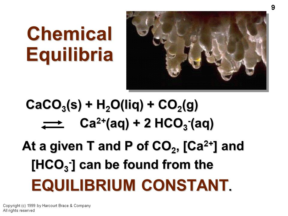 9 Copyright (c) 1999 by Harcourt Brace & Company All rights reserved Chemical Equilibria CaCO 3 (s) + H 2 O(liq) + CO 2 (g) Ca 2+ (aq) + 2 HCO 3 - (aq) CaCO 3 (s) + H 2 O(liq) + CO 2 (g) Ca 2+ (aq) + 2 HCO 3 - (aq) At a given T and P of CO 2, [Ca 2+ ] and [HCO 3 - ] can be found from the EQUILIBRIUM CONSTANT.