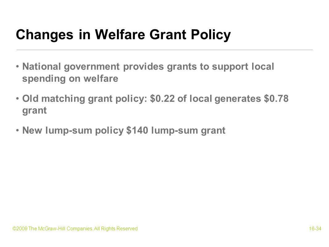 ©2009 The McGraw-Hill Companies, All Rights Reserved16-34 National government provides grants to support local spending on welfare Old matching grant policy: $0.22 of local generates $0.78 grant New lump-sum policy $140 lump-sum grant Changes in Welfare Grant Policy
