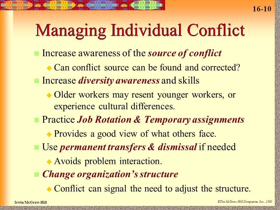 16-10 Irwin/McGraw-Hill ©The McGraw-Hill Companies, Inc., 2000 Managing Individual Conflict Increase awareness of the source of conflict  Can conflict source can be found and corrected.