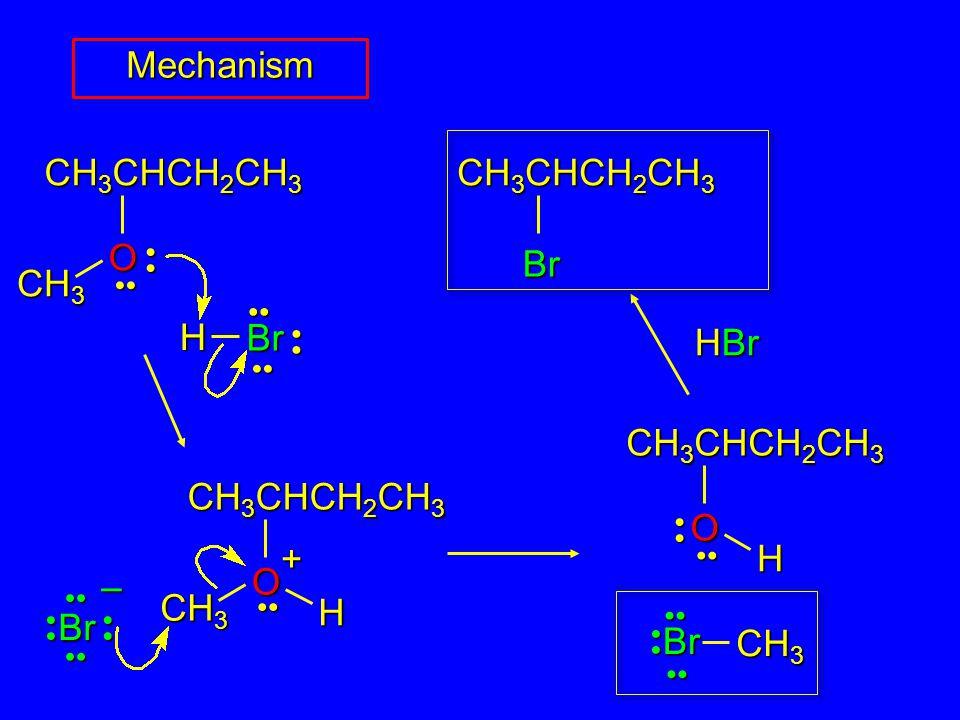 CH 3 CH 3 CHCH 2 CH 3 O H Br CH 3 CHCH 2 CH 3 O CH 3 H + Br – Mechanism CH 3 CHCH 2 CH 3 Br HBr CH 3 Br CH 3 CHCH 2 CH 3 O H