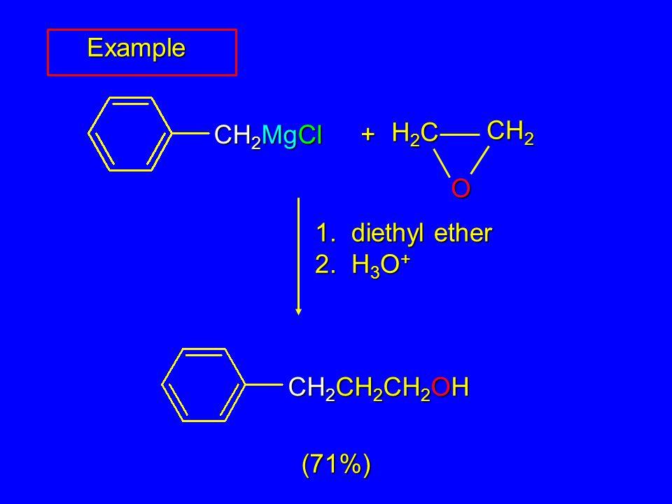 H2CH2CH2CH2C CH 2 O + 1. diethyl ether 2. H 3 O + (71%) Example CH 2 MgCl CH 2 CH 2 CH 2 OH