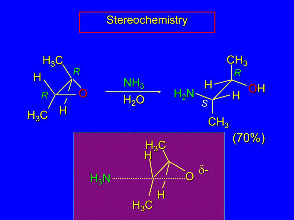 NH 3 H2OH2OH2OH2O (70%) ---- R S R R Stereochemistry H3CH3CH3CH3C CH 3 H3CH3CH3CH3C O H H H H OHOHOHOH H2NH2NH2NH2N H3NH3NH3NH3N O H3CH3CH3CH3C H H3CH3CH3CH3C H