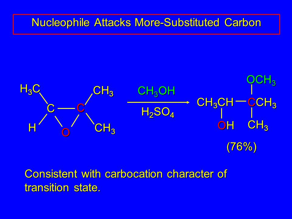CH 3 OH C C H H3CH3CH3CH3C CH 3 O Consistent with carbocation character of transition state.