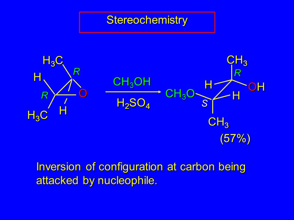 (57%) R S R R Stereochemistry H3CH3CH3CH3C CH 3 H3CH3CH3CH3C O H H H H OHOHOHOH CH 3 O CH 3 OH H 2 SO 4 Inversion of configuration at carbon being attacked by nucleophile.