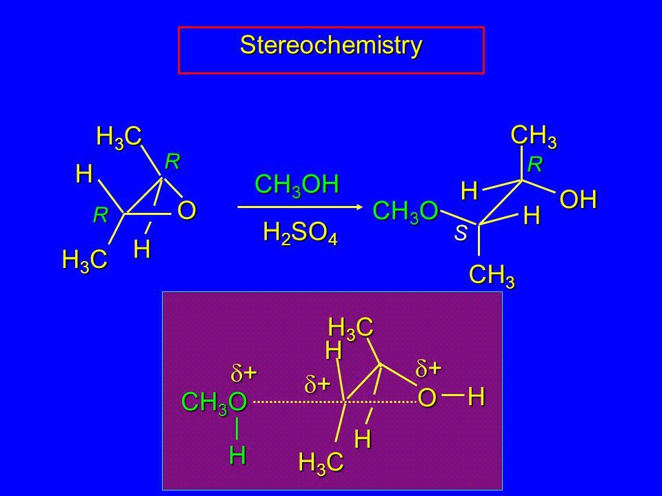 R S R R Stereochemistry H3CH3CH3CH3C CH 3 H3CH3CH3CH3C O H H H H OH CH 3 O CH 3 OH H 2 SO 4 ++++ ++++ CH 3 O O H3CH3CH3CH3C H H3CH3CH3CH3C H H ++++ H