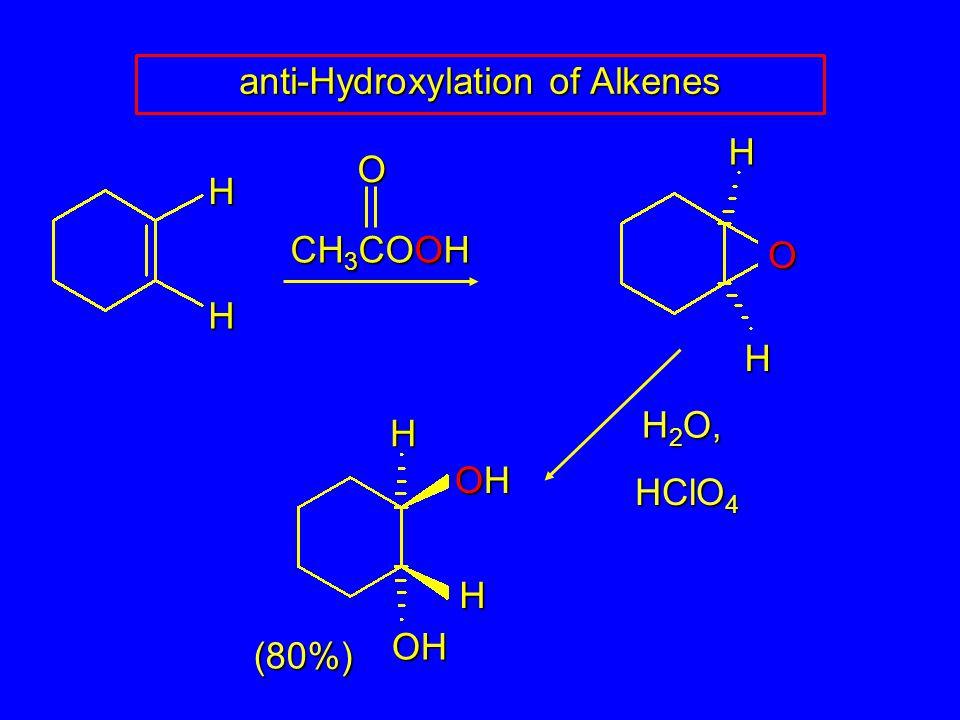 anti-Hydroxylation of Alkenes HH CH 3 COOH O HHO H 2 O, HClO 4 (80%) H OHOHOHOH OH H