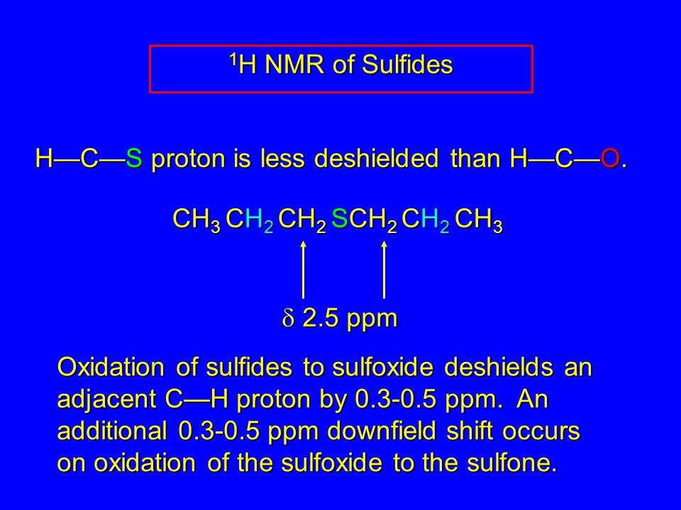 H—C—S proton is less deshielded than H—C—O.