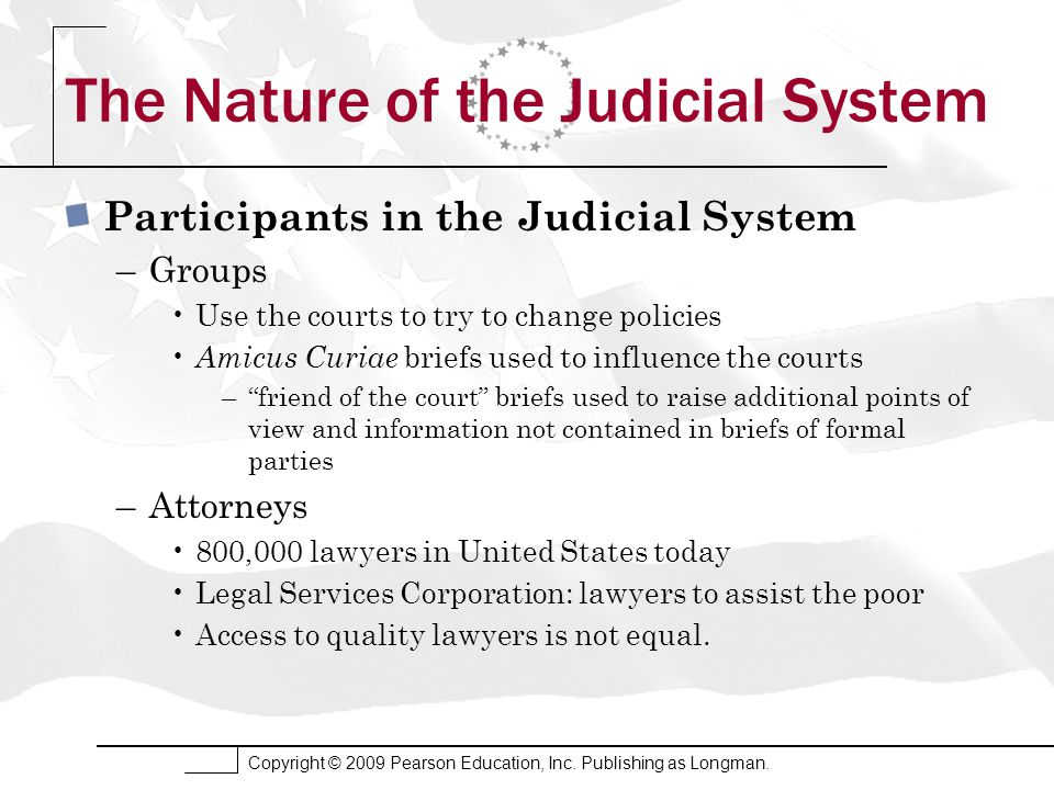 Copyright © 2009 Pearson Education, Inc. Publishing as Longman. The Nature of the Judicial System Participants in the Judicial System –Groups Use the