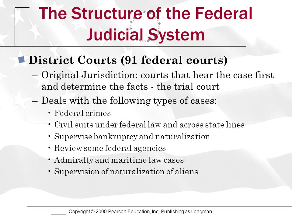 Copyright © 2009 Pearson Education, Inc. Publishing as Longman. The Structure of the Federal Judicial System District Courts (91 federal courts) –Orig