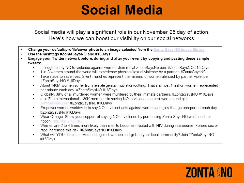 Social Media Social media will play a significant role in our November 25 day of action. Here's how we can boost our visibility on our social networks