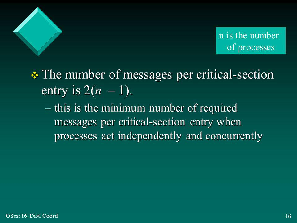 OSes: 16. Dist. Coord 16 v The number of messages per critical-section entry is 2(n – 1).