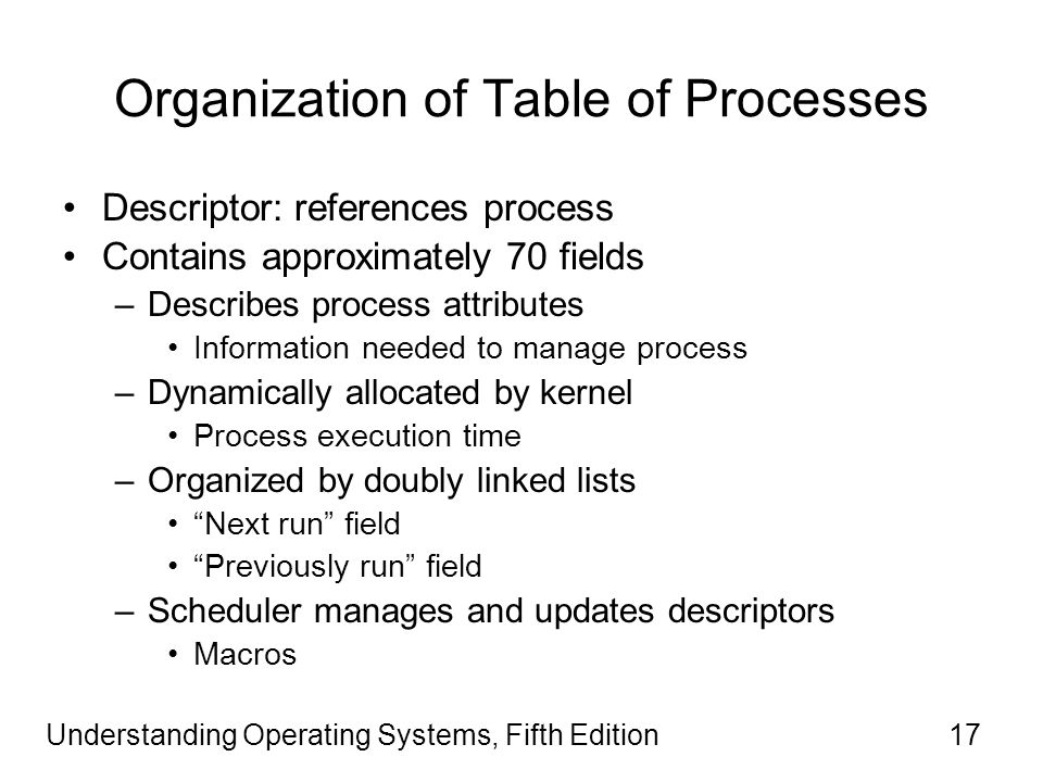 Understanding Operating Systems, Fifth Edition17 Organization of Table of Processes Descriptor: references process Contains approximately 70 fields –Describes process attributes Information needed to manage process –Dynamically allocated by kernel Process execution time –Organized by doubly linked lists Next run field Previously run field –Scheduler manages and updates descriptors Macros