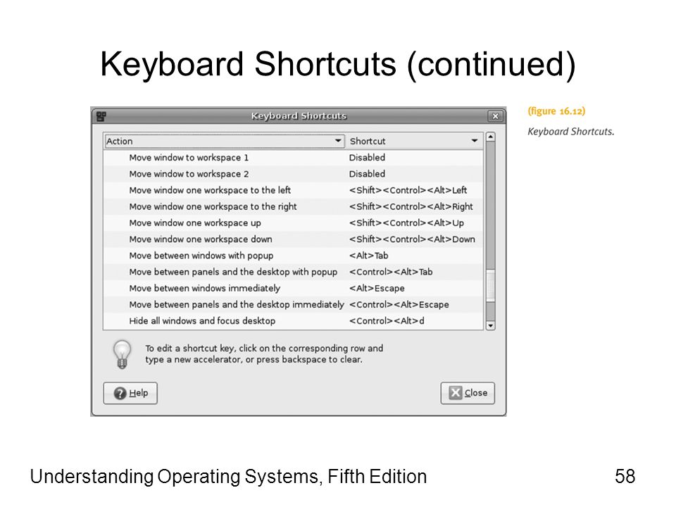 Understanding Operating Systems, Fifth Edition58 Keyboard Shortcuts (continued)