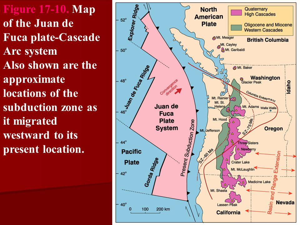 Figure 17-10. Map of the Juan de Fuca plate-Cascade Arc system Also shown are the approximate locations of the subduction zone as it migrated westward