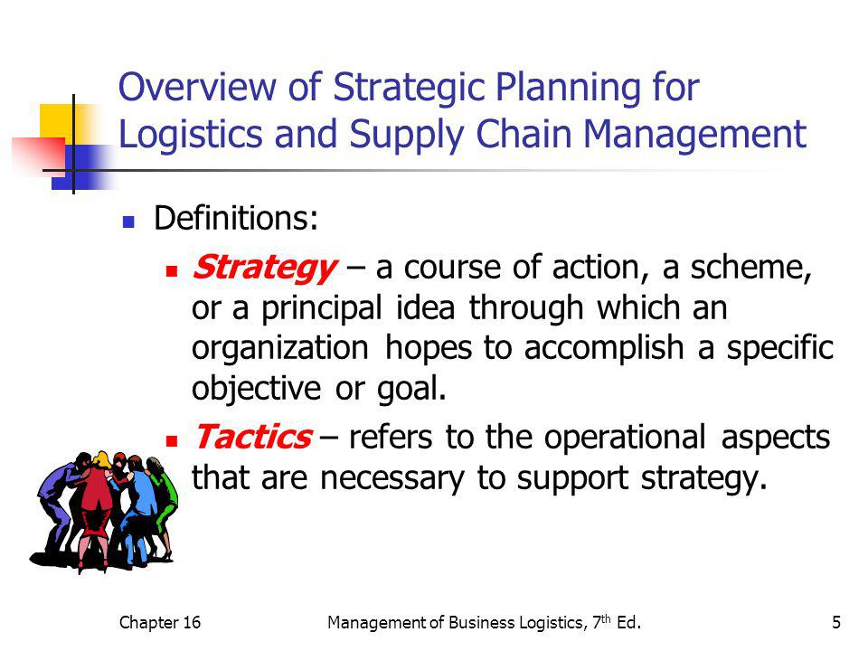 Chapter 16Management of Business Logistics, 7 th Ed.5 Overview of Strategic Planning for Logistics and Supply Chain Management Definitions: Strategy –