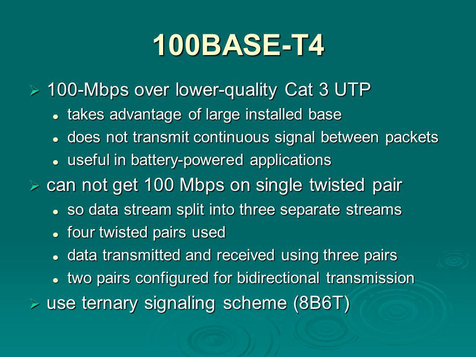 100BASE-T4  100-Mbps over lower-quality Cat 3 UTP takes advantage of large installed base takes advantage of large installed base does not transmit continuous signal between packets does not transmit continuous signal between packets useful in battery-powered applications useful in battery-powered applications  can not get 100 Mbps on single twisted pair so data stream split into three separate streams so data stream split into three separate streams four twisted pairs used four twisted pairs used data transmitted and received using three pairs data transmitted and received using three pairs two pairs configured for bidirectional transmission two pairs configured for bidirectional transmission  use ternary signaling scheme (8B6T)