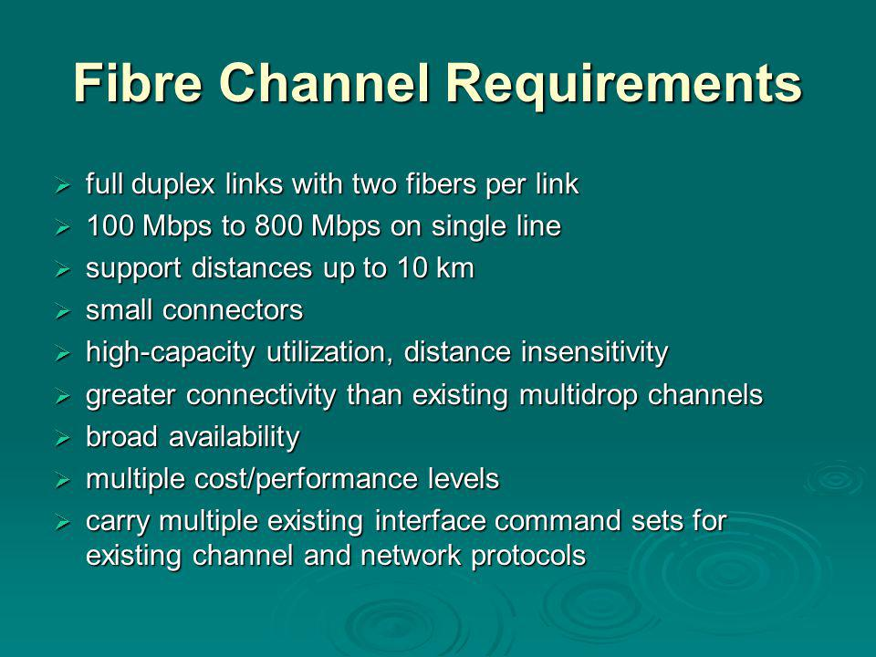 Fibre Channel Requirements  full duplex links with two fibers per link  100 Mbps to 800 Mbps on single line  support distances up to 10 km  small connectors  high-capacity utilization, distance insensitivity  greater connectivity than existing multidrop channels  broad availability  multiple cost/performance levels  carry multiple existing interface command sets for existing channel and network protocols  carry multiple existing interface command sets for existing channel and network protocols