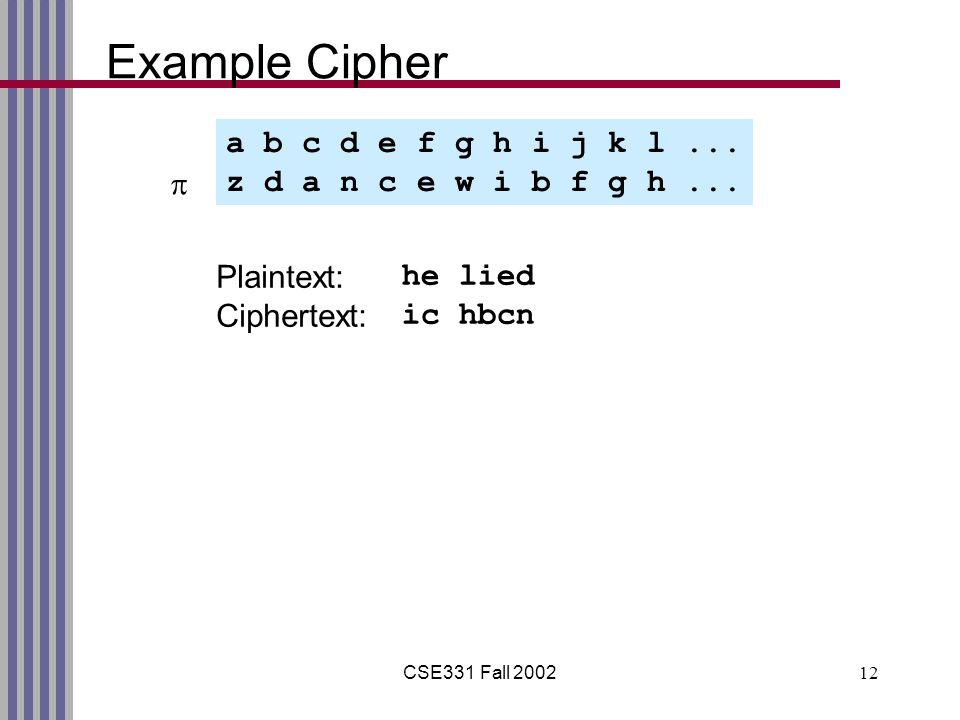 CSE331 Fall 200212 Example Cipher a b c d e f g h i j k l...