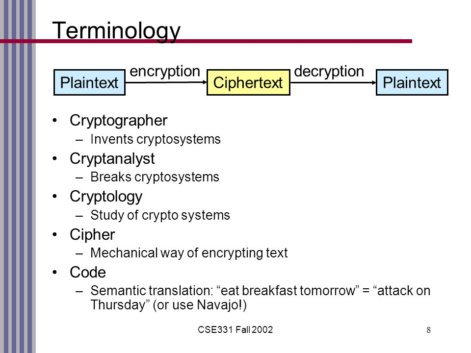 CSE331 Fall 20028 Terminology Cryptographer –Invents cryptosystems Cryptanalyst –Breaks cryptosystems Cryptology –Study of crypto systems Cipher –Mechanical way of encrypting text Code –Semantic translation: eat breakfast tomorrow = attack on Thursday (or use Navajo!) PlaintextCiphertextPlaintext encryption decryption