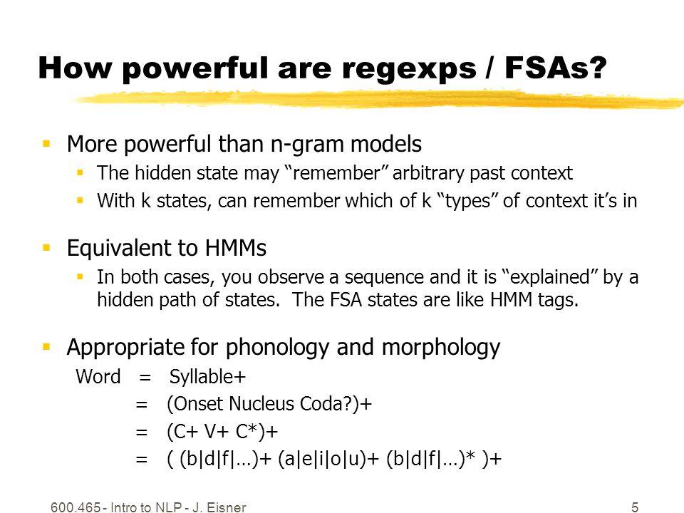 600.465 - Intro to NLP - J. Eisner5 How powerful are regexps / FSAs.