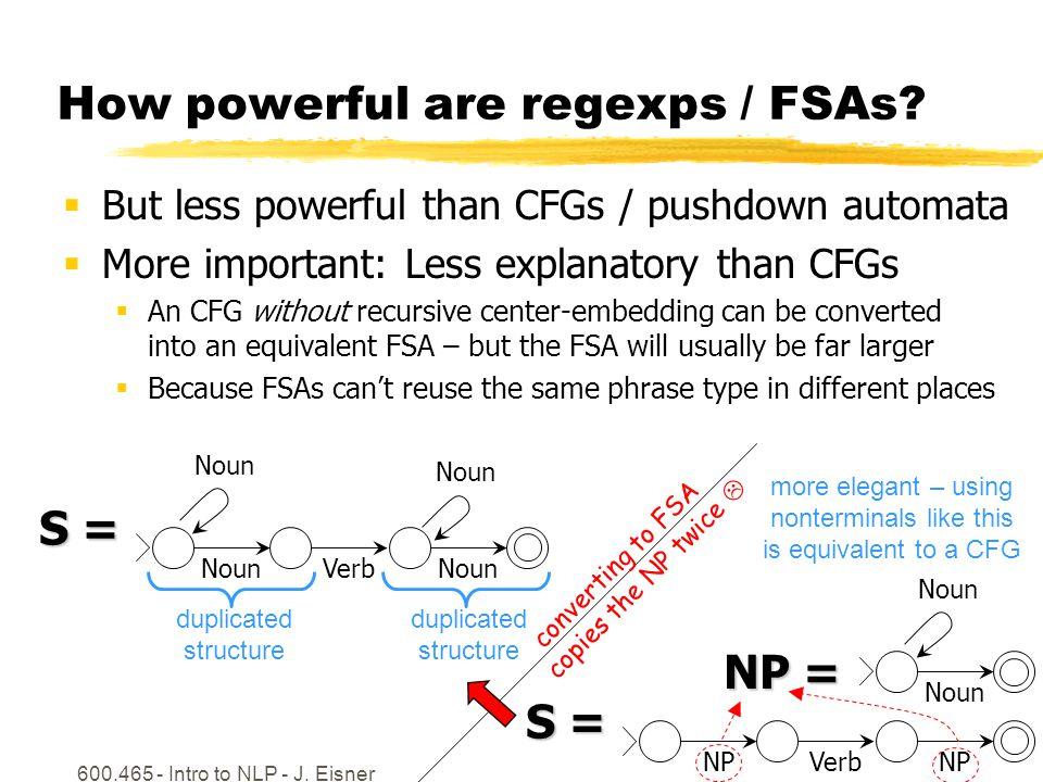 600.465 - Intro to NLP - J. Eisner7 How powerful are regexps / FSAs.