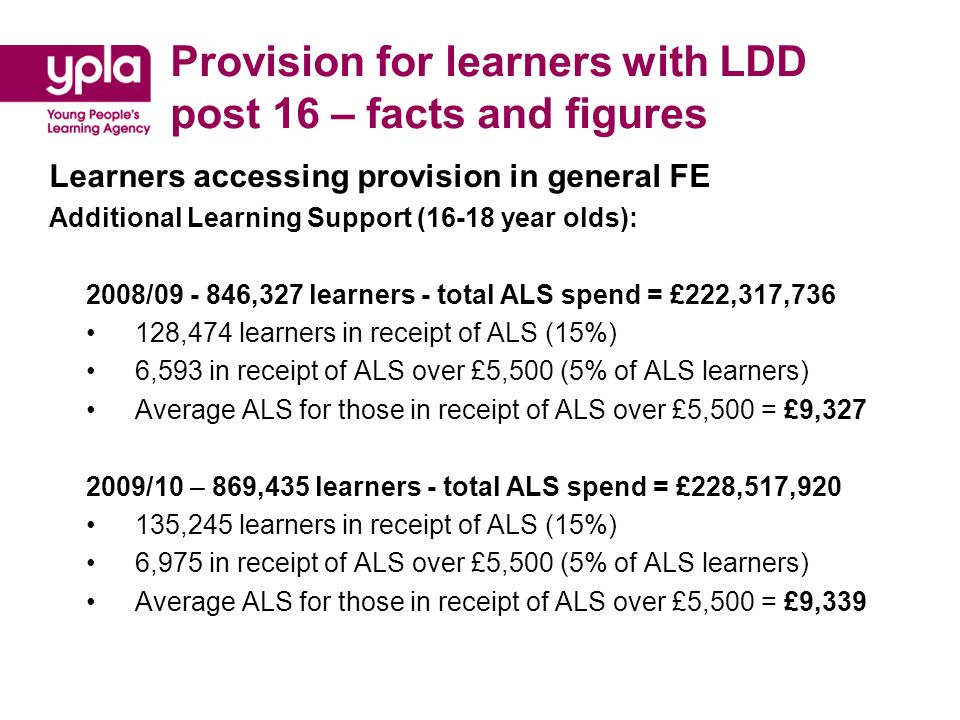 Provision for learners with LDD post 16 – facts and figures Placements