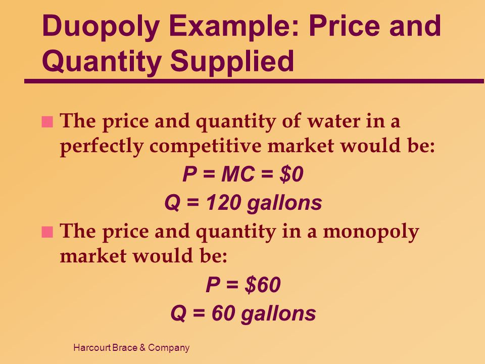 Harcourt Brace & Company Duopoly Example: Price and Quantity Supplied n The price and quantity of water in a perfectly competitive market would be: P
