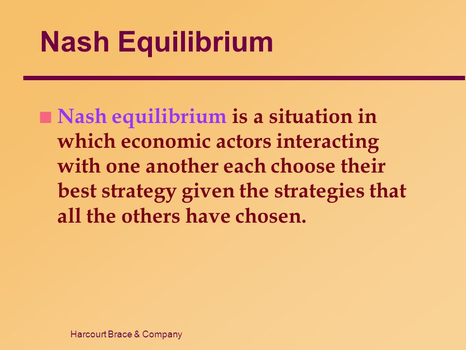 Harcourt Brace & Company Nash Equilibrium n Nash equilibrium is a situation in which economic actors interacting with one another each choose their be
