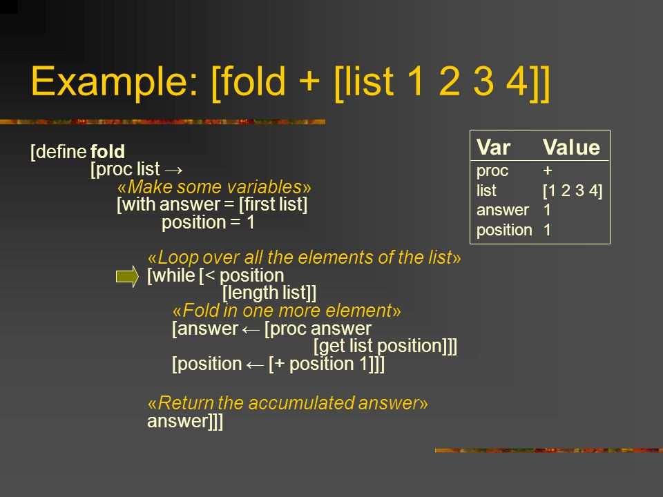 Example: [fold + [list 1 2 3 4]] [define fold [proc list → «Make some variables» [with answer = [first list] position = 1 «Loop over all the elements of the list» [while [< position [length list]] «Fold in one more element» [answer ← [proc answer [get list position]]] [position ← [+ position 1]]] «Return the accumulated answer» answer]]] VarValue proc+ list[1 2 3 4] answer1 position1