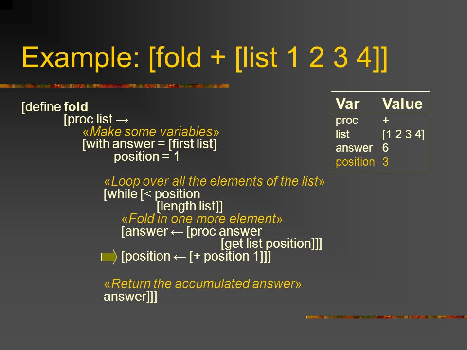 Example: [fold + [list 1 2 3 4]] [define fold [proc list → «Make some variables» [with answer = [first list] position = 1 «Loop over all the elements of the list» [while [< position [length list]] «Fold in one more element» [answer ← [proc answer [get list position]]] [position ← [+ position 1]]] «Return the accumulated answer» answer]]] VarValue proc+ list[1 2 3 4] answer6 position3