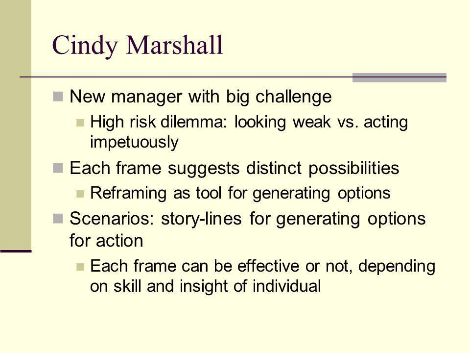 Cindy Marshall New manager with big challenge High risk dilemma: looking weak vs. acting impetuously Each frame suggests distinct possibilities Refram