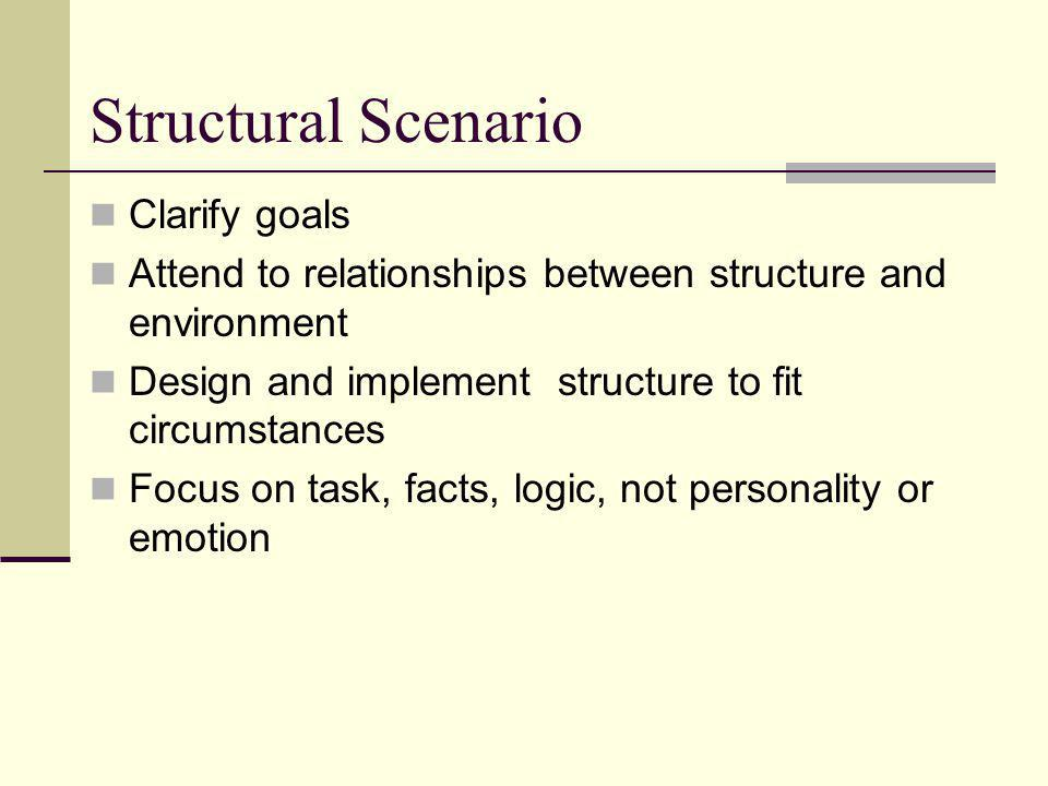 Structural Scenario Clarify goals Attend to relationships between structure and environment Design and implement structure to fit circumstances Focus