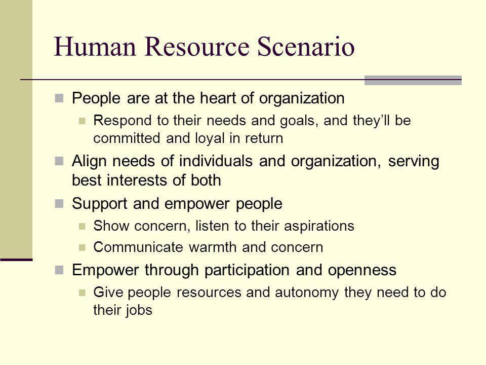 Political Scenario Recognize political reality, deal with conflict Scarce resources produce conflict over who gets what Know the players (individuals and interest groups) and what they want Build ties to key players and group leaders Build a power base and use power carefully Overplaying your hand makes you weaker Create arenas for negotiation and compromise Look for and emphasize common interests to unify your group Rally troops against outside enemies