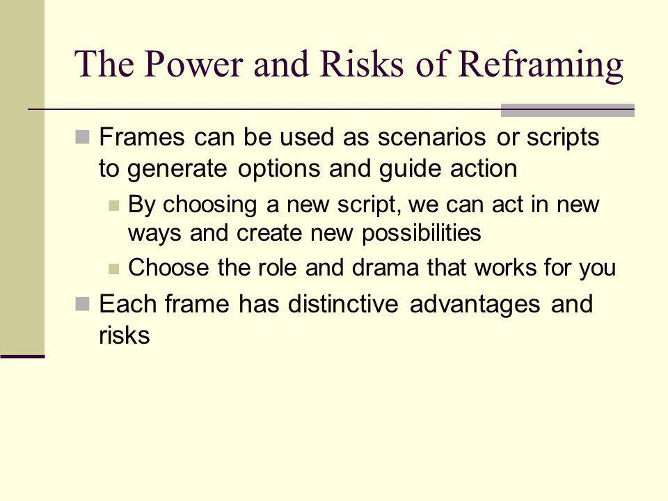 Frame Risks FrameRisks StructuralIgnore non-rational elements: irrational neglect of human, political and cultural elements Over-rely on authority and underrely on alternative sources of power Human Resource Blinded by romantic view of human nature Too optimistic about trust and win-win in high-conflict/high-scarcity situations