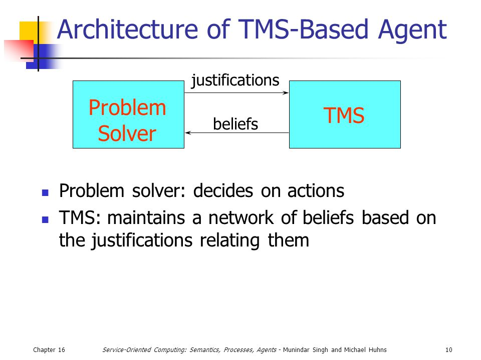 Chapter 1610Service-Oriented Computing: Semantics, Processes, Agents - Munindar Singh and Michael Huhns Architecture of TMS-Based Agent Problem solver: decides on actions TMS: maintains a network of beliefs based on the justifications relating them Problem Solver TMS justifications beliefs