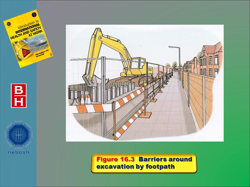 Figure 16.3 Barriers around excavation by footpath