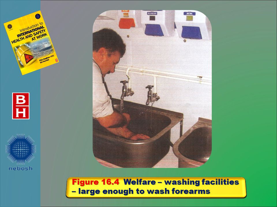Figure 16.4 Welfare – washing facilities – large enough to wash forearms
